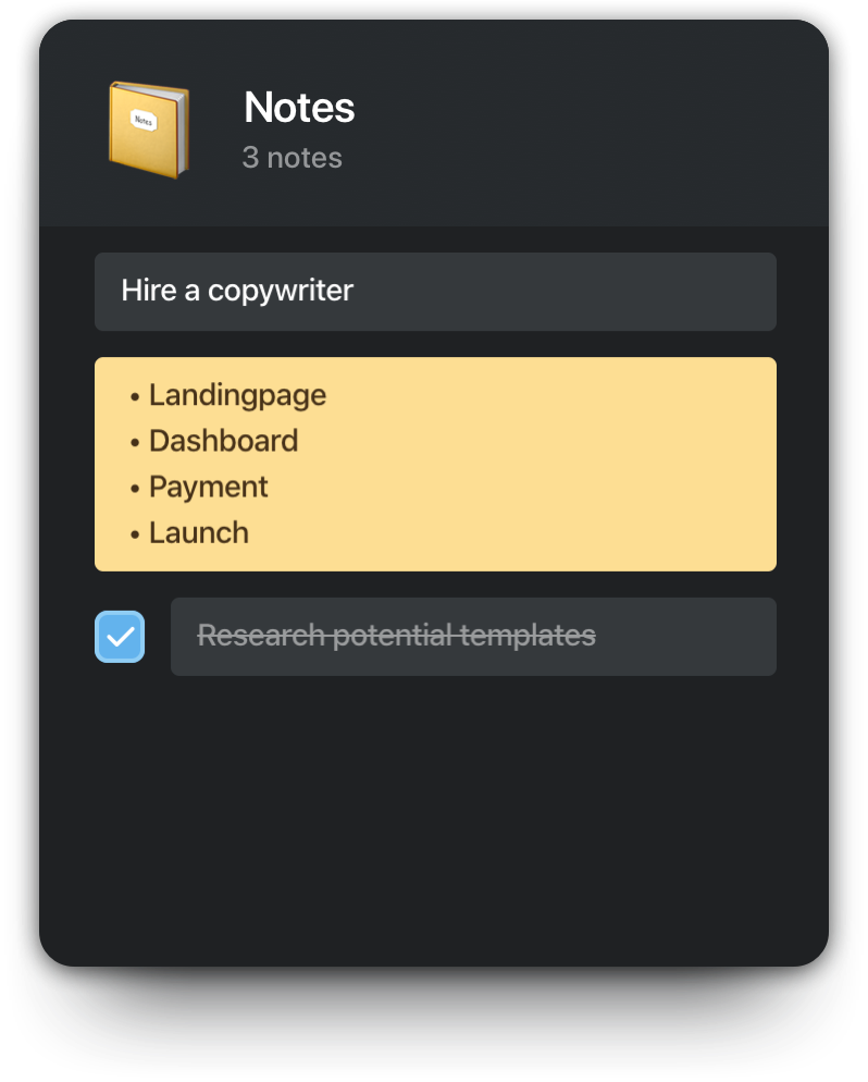 Notes container
